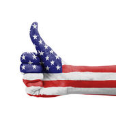 Hand with thumb up, USA (United States of America) flag painted  — Zdjęcie stockowe