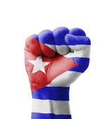 Fist of Cuba flag painted, multi purpose concept - isolated on w — Stock Photo