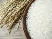 White rice on the wooden plate and rice plant — Stock Photo