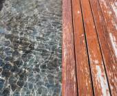 Water and wood floor — Stock Photo