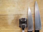 Knife and sharpener ( Space for text ) — Foto Stock