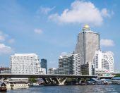 Landscape of Chao Phraya river ,bridge an building ,Bangkok,Thailand — Stock Photo