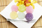 Khanom Chan or Thai sweetmeat is a kind of sweet Thai dessert — Stock Photo