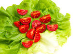 Cherry tomatoes on lettuce close — Foto Stock