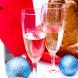 Sparkling wine with Christmas decorations — Stock Photo #57110733