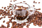 Cup of coffee and coffee beans close — Stock Photo