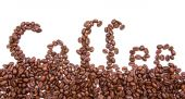 Written coffee with coffee beans — Stock fotografie