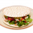Flatbread with chicken and salad — Stock Photo #64997251