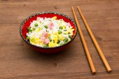 Cantonese rice on wood — Stock Photo