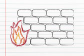 Funny firewall design and internet security — Foto de Stock