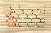 Funny firewall design and internet security — Stockfoto