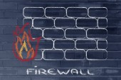 Funny firewall design and internet security — Stock Photo