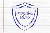 Shield for internet security and the risks for confidential information — Stockfoto