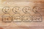 Colaboração, compartilhamento, trabalho e trabalho em equipe — Fotografia Stock