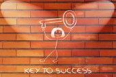 Girl holding oversized key, metaphor of key to success — Stock Photo