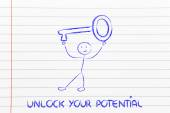 Man holding oversized key, unlock your potential — Stockfoto