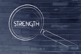 Finding strength, magnifying glass design — Foto Stock