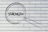 Finding strength, magnifying glass design — Stock Photo