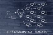 Diffusion and exchange of ideas through the internet — Foto de Stock