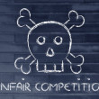 Unfair competition threat, funny skull metaphor — Stock Photo #53812823