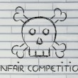 Unfair competition threat, funny skull metaphor — Stock Photo #53813015