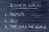 List of business goals: promote, sell, take over the world — Foto de Stock