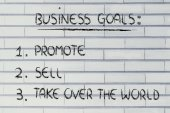 List of business goals: promote, sell, take over the world — Foto Stock