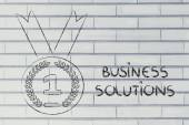 Best business solution, gold medal symbol — Stock Photo