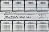 Documents and search bar, looking for reliable sources — Stock Photo