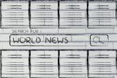 Documents and search bar, looking for world news — Stock Photo