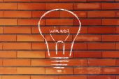 Lightbulb with filament saying Winner — Stock Photo