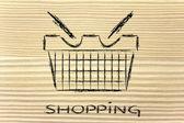 Drôle conception de panier shopping — Photo