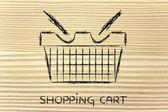 Funny shopping cart design — Stock Photo