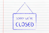 Sory we're closed shop sign — Stock Photo