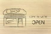 Funny illustration of small corner shop — Stock Photo