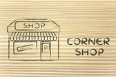 Funny illustration of small corner shop — Stock Photo