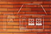 Immobilienmarkt, lustige Haus zum Verkauf — Stockfoto