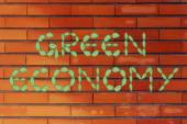 Green economy writing made of leaves — Stock Photo