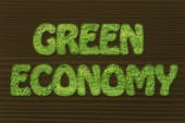 Green economy writing made of grass texture — Stockfoto