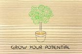 Gearwheel tree, surreal interpretation of green economy — Stockfoto