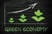 Metaphor of green economy, performance graph with leaves growth — Foto de Stock