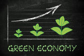 Metaphor of green economy, performance graph with leaves growth — Foto Stock
