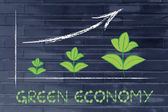 Metaphor of green economy, performance graph with leaves growth — Stock Photo