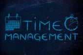 Time management words stopwatch and calendar — Stock Photo