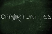Opportunities word with target and arrow — Stock Photo