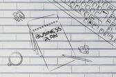 стол с keybord, кофе и деловыми документами — Стоковое фото