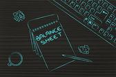 Stůl s klávesnicí, kávy a obchodní dokumenty — Stock fotografie