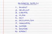 List of business goals for success — Foto Stock