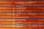 List of business goals for success — Stock Photo