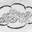 Постер, плакат: Cloud computing funny devices and cloud design